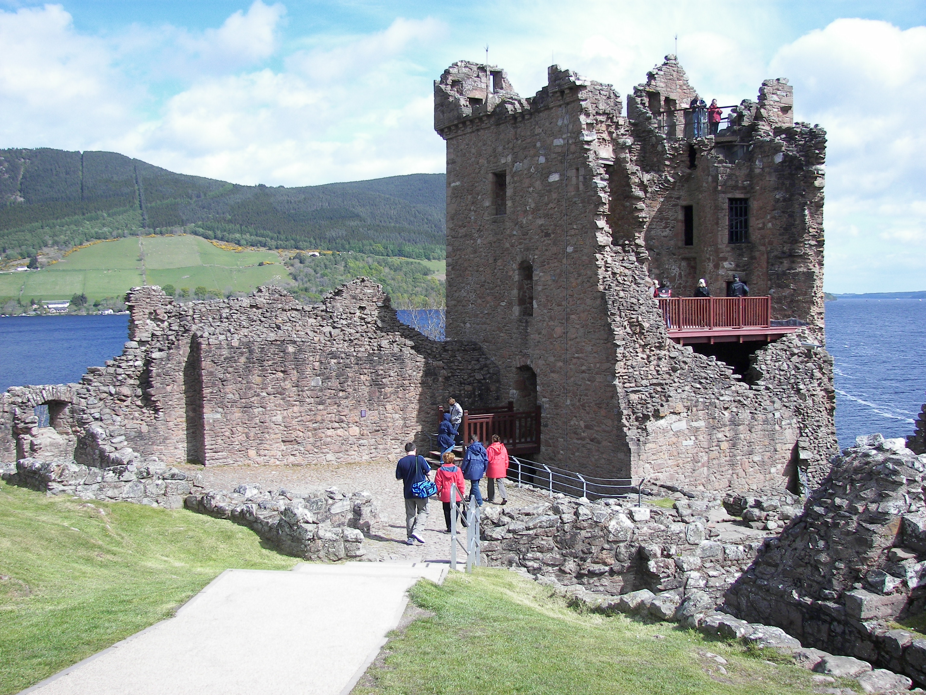 Tower House of Urquhart Castle on Loch Ness.