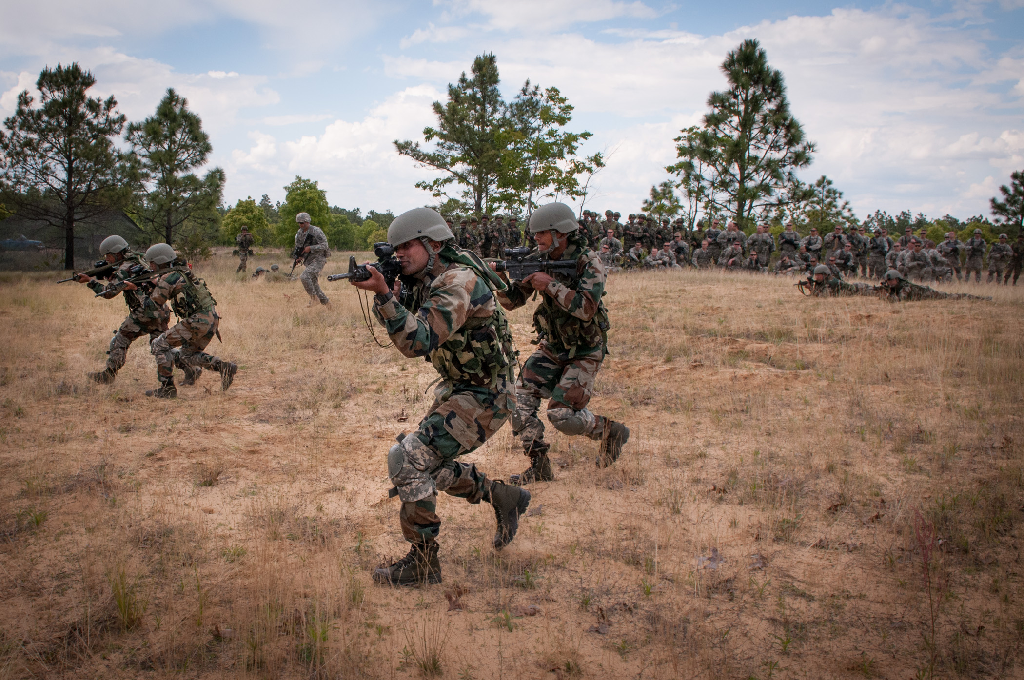 Soldiers of the Indian Army's 99th Mountain Brigade's 2nd Battalion, 5 Gorkha Rifles, during Yudh Abhyas 2013 at Fort Bragg
