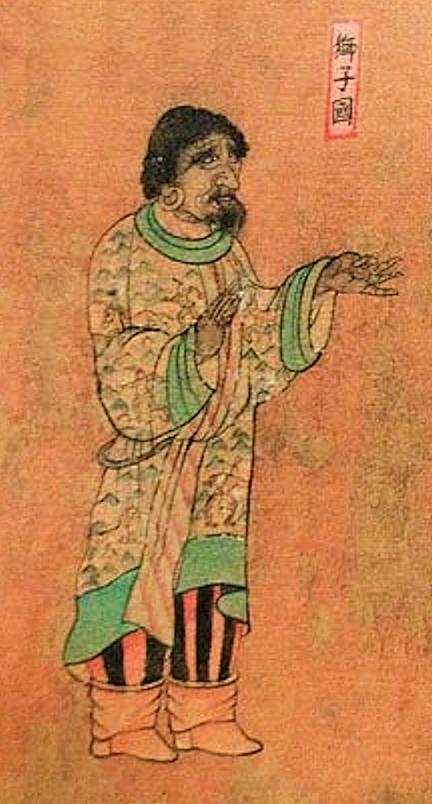 スリランカ(獅子國シジグオ)から中国(梁王朝)、ワングホイ(王会像)、西暦650年頃の大使