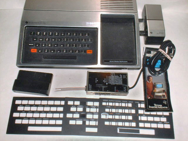 File:1979 TI-99-4 with Speech Synthesizer, RF modulator, keyboard overlays (adjusted).jpg