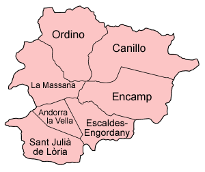 Map of the parishes of Andorra, named in Catal...