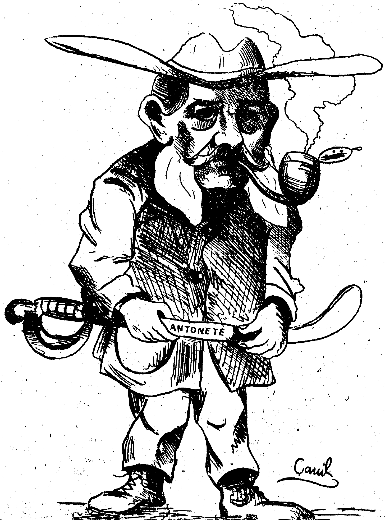 "Caricature of Andrés Baquero. In his hands he holds a sabre with the name ""Antonete"", due to a controversy of the time about the authenticity of the weapon that was then exposed in the Provincial Museum as belonging to the revolutionary [[Antonio Gálvez Arce]]."
