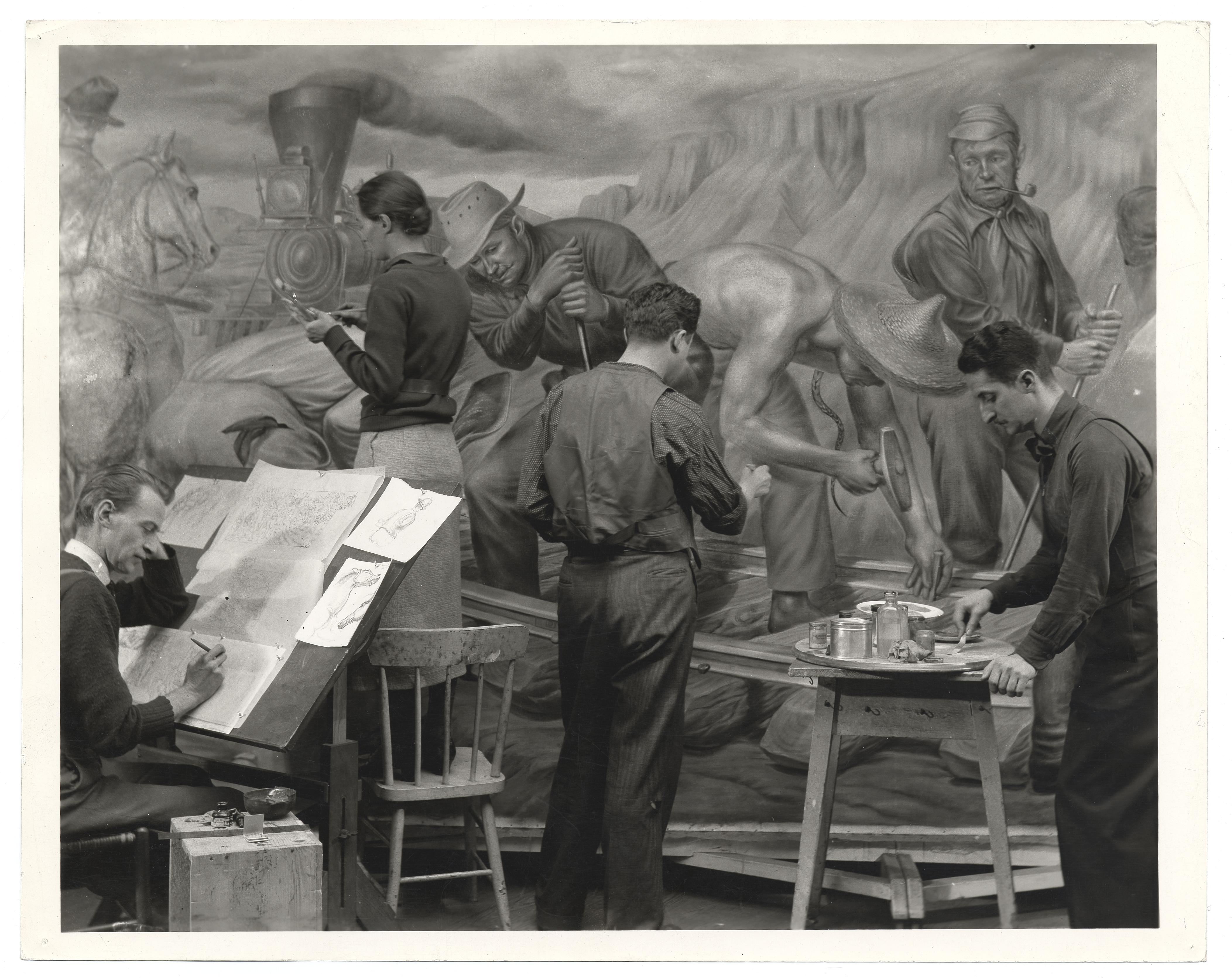 Edward Laning working on mural for Ellis Island, 1937