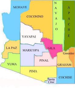 Gila County Wikipedia Den Frie Encyklopædi - Map of arizona cities and counties