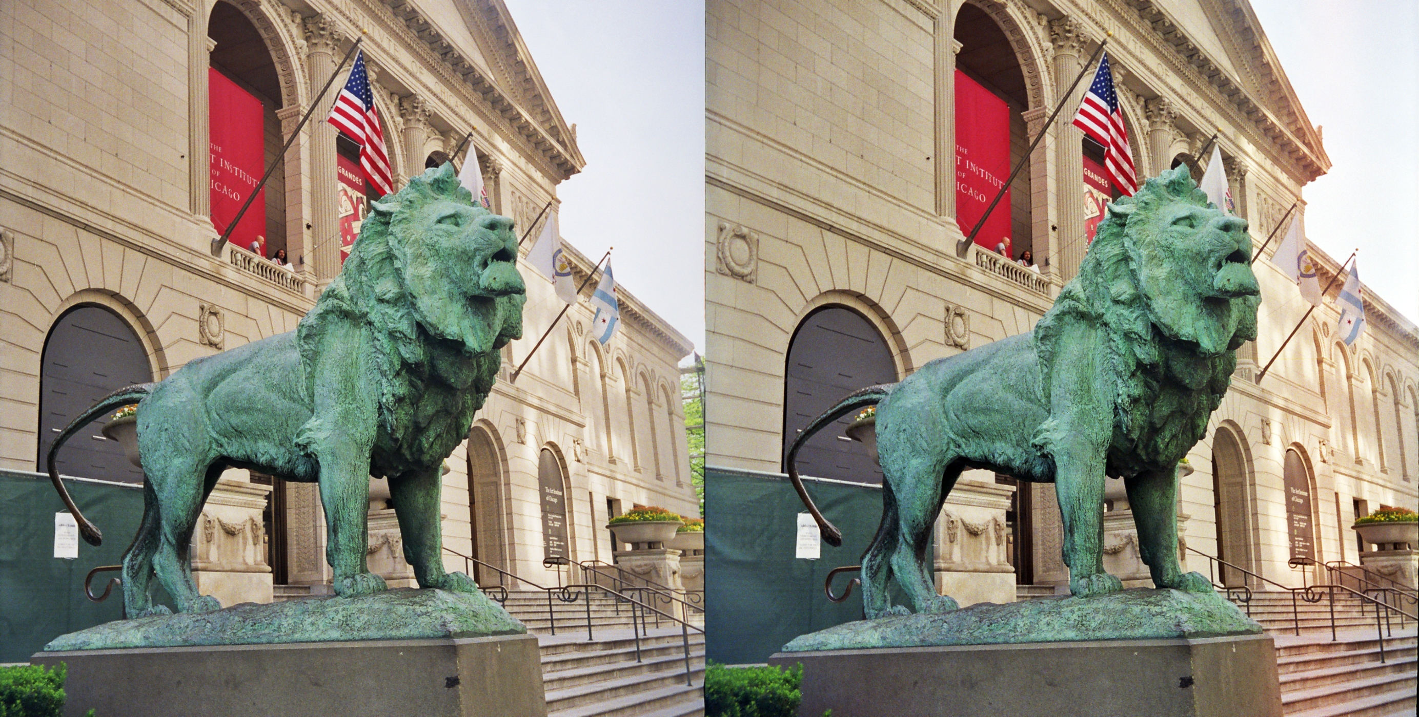 File Art Institute Of Chicago Lion Statue Parallel Stereo Pair Jpg Wikimedia Commons