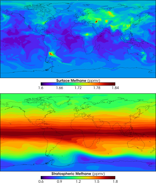 Global methane concentrations (surface and atmospheric) for 2005; note distinct plumes