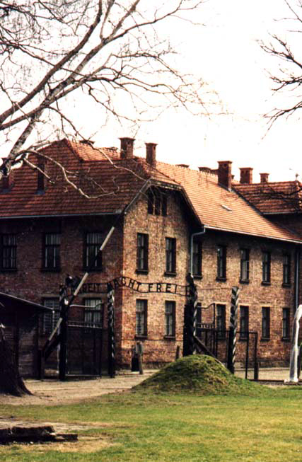 The entrance to the Auschwitz I concentration camp, established by Nazi Germany in Poland Auschwitz I Entrance.jpg