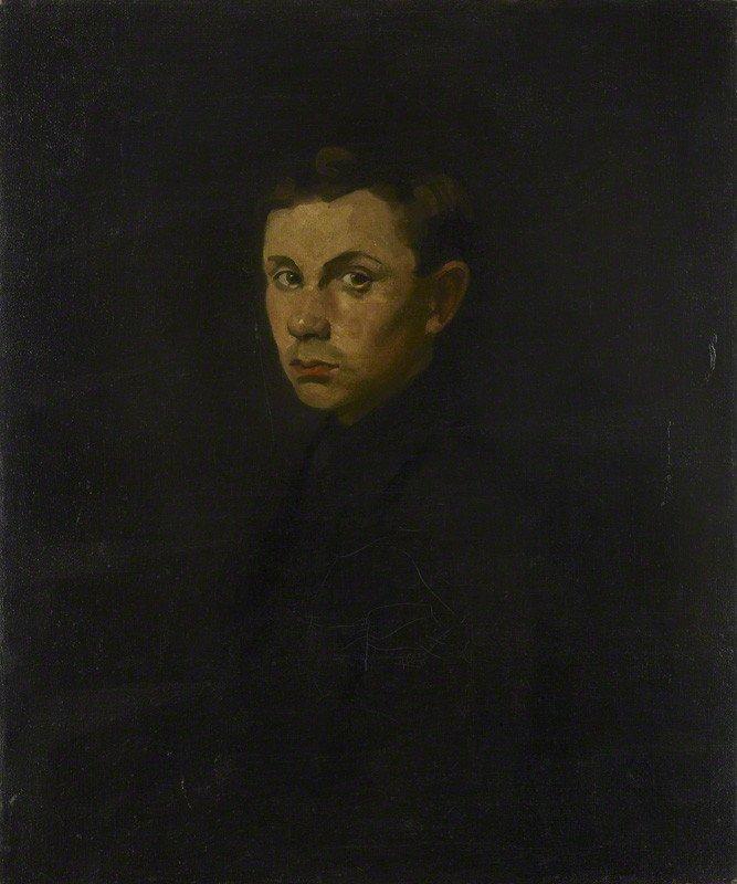 Portrait of Ben Nicholson by [[Mabel Pryde]], circa 1910–1914
