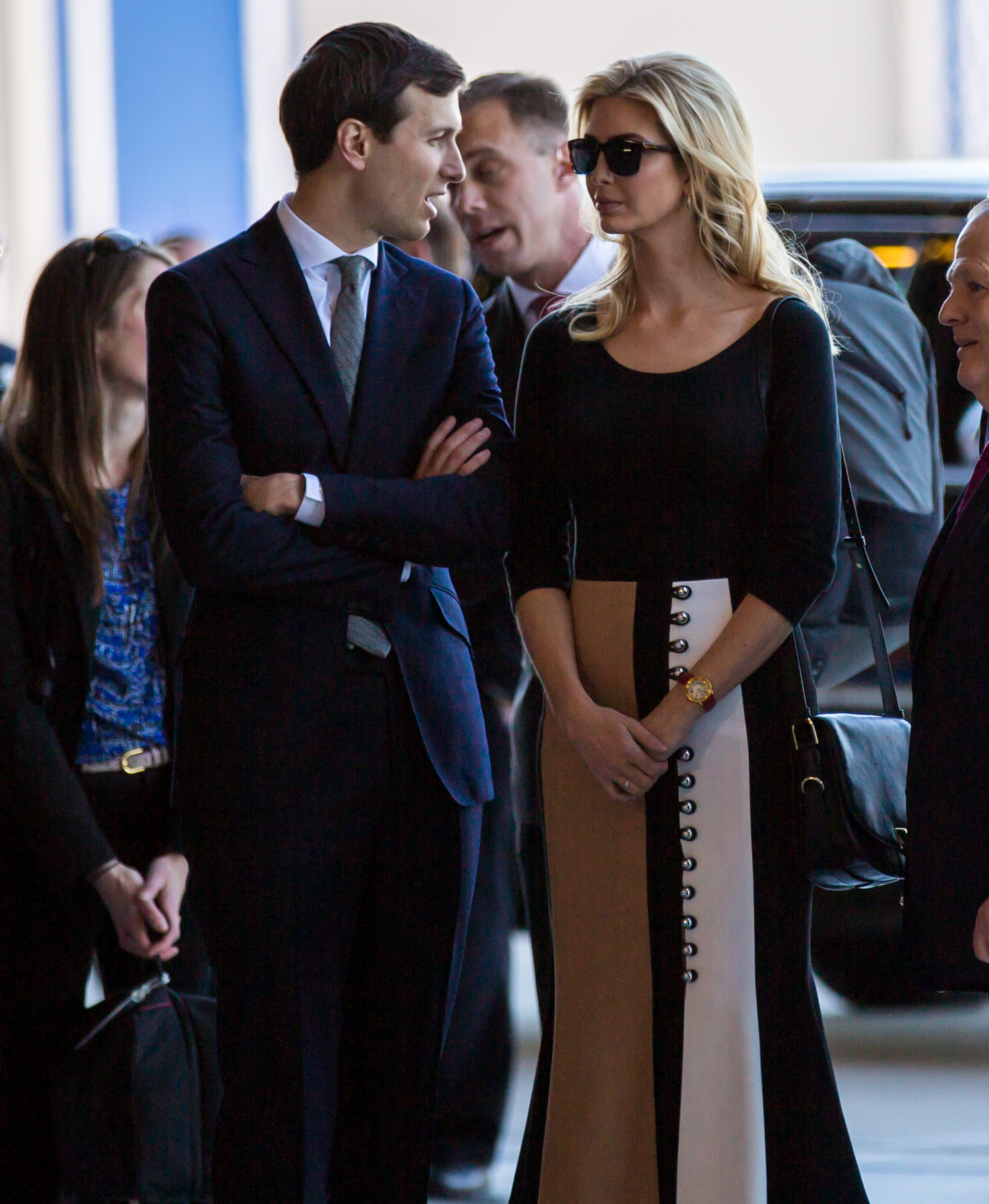 Ivanka Trump wears a paneled tea skirt by David Koma, Feb. 2017