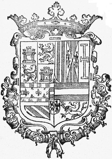 Spanish coat of arms black and white