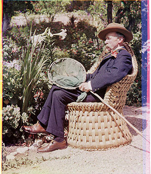 Color photography was possible long before Kodachrome, as this 1903 portrait by Sarah Angelina Acland demonstrates, but in its earliest years, the need for special equipment, long exposures, and complicated printing processes made it extremely rare. Colonel William Willoughby Verner, Sanger Shepherd process, by Sarah Acland 1903.png