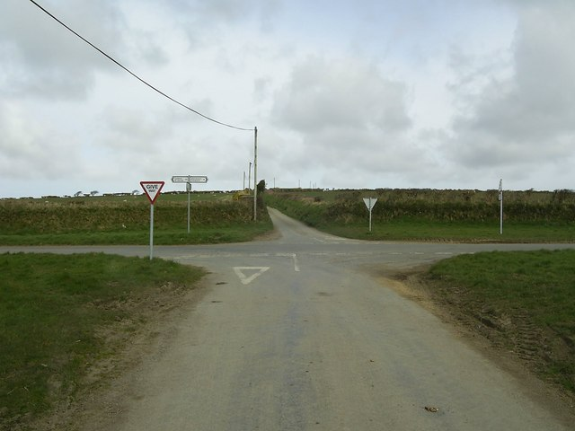 An image of an English crossroads near Jordanston.