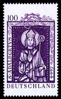 Frimerke til tusenårsjubileet for Adalberts død i 1997, fellesutgave mellom Tyskland, Polen, Tsjekkia, Ungarn og Vatikanstaten, detalj fra kirkeportalen i Gnesen