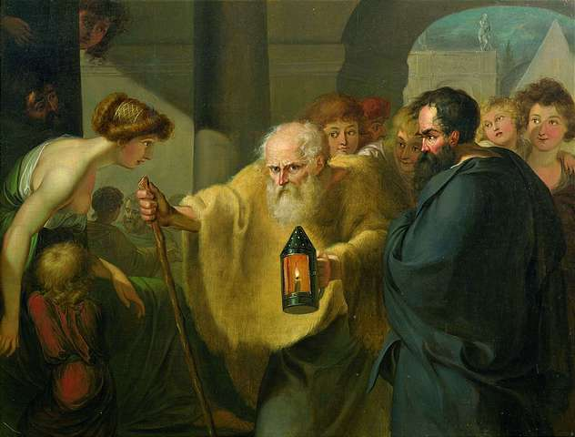 Diogenes looking for a man   attributed to JHW Tischbein Diogenes Response to the Human Hybrid Hypothesis