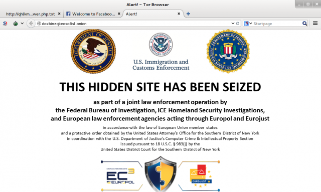 An image of the Silk Road homepage, after being removed by law enforcement.
