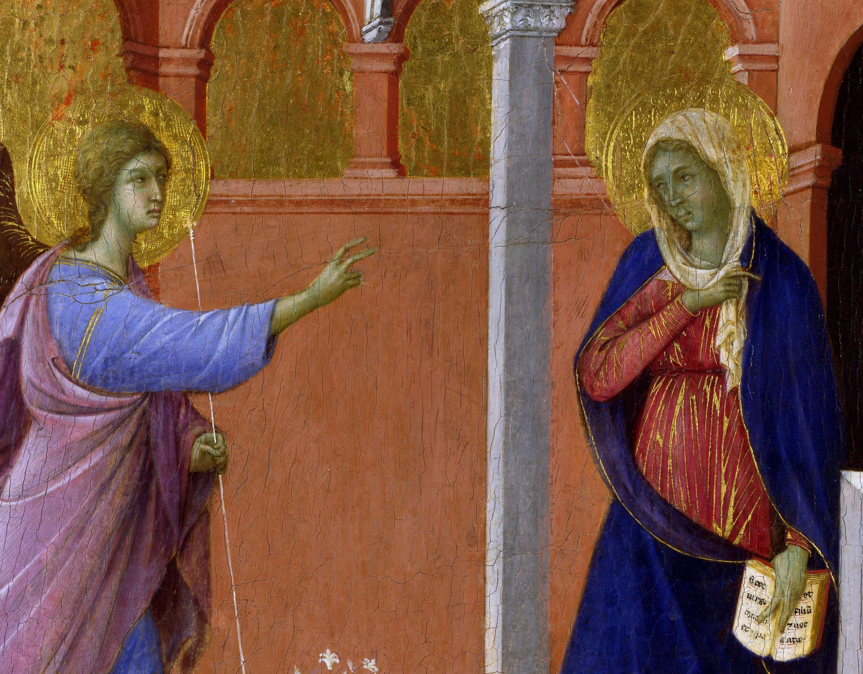 Duccio di Boninsegna, Maestà del Duomo di Siena (particolari dell'Annunciazione) (1308-1311), tempera e oro su tavola, dal Duomo di Siena, Londra,National Gallery