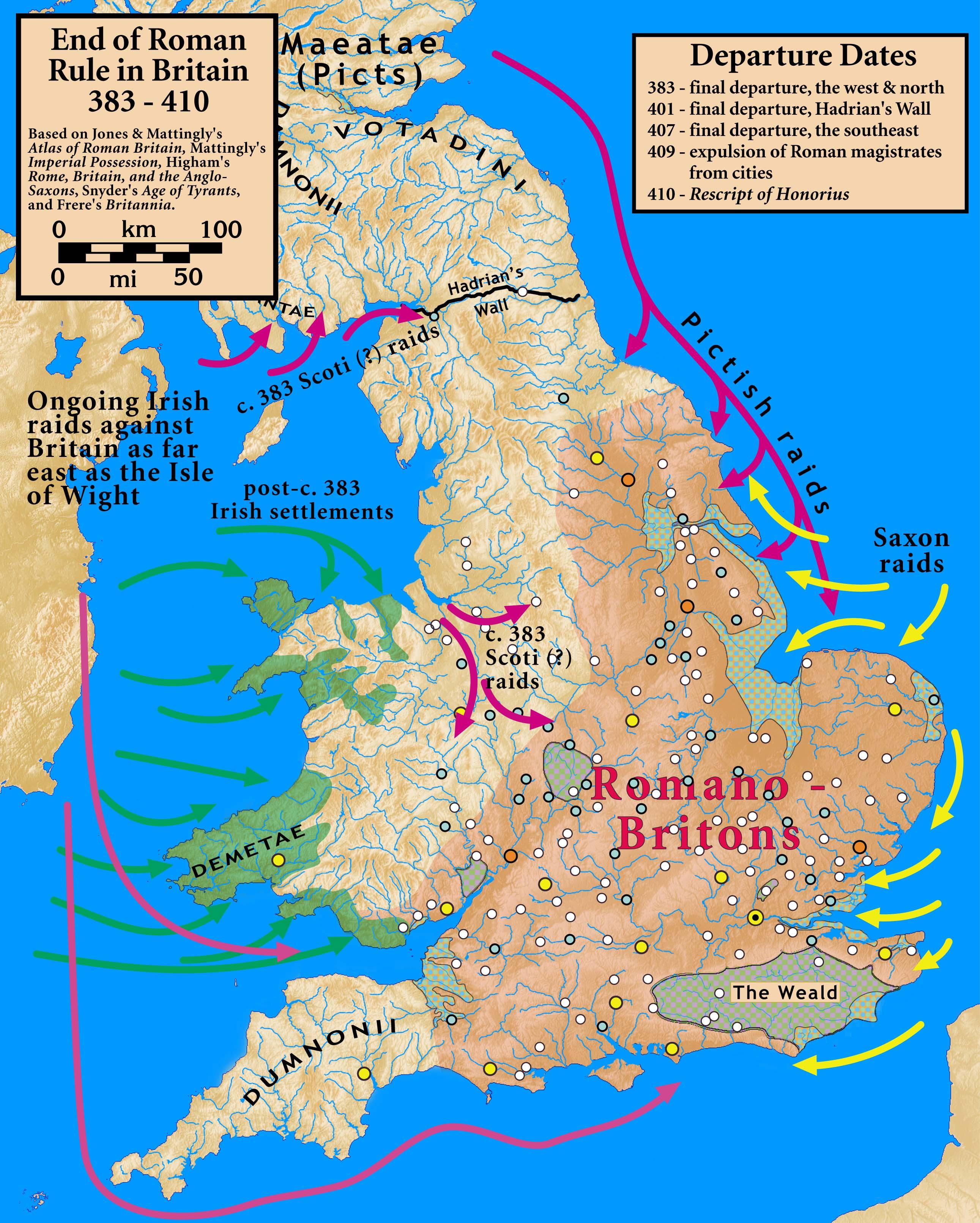 Sub-Roman Britain - Historical Maps Of ırish Colonies İn