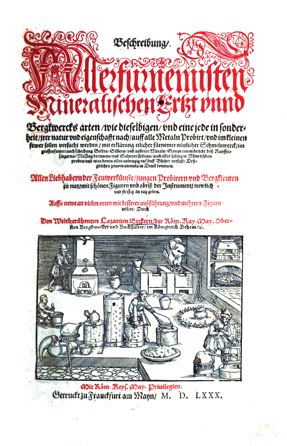 Title page of the 1580 edition of Ercker's book
