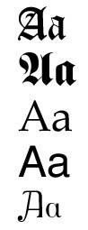 גופנים שונים של האות A