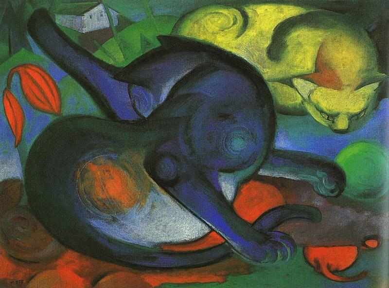 La peinture - Page 12 Franz_Marc-Two_Cats,Blue_and_Yellow(Zwei_Katzen,_blau_und_gelb)_(1912)