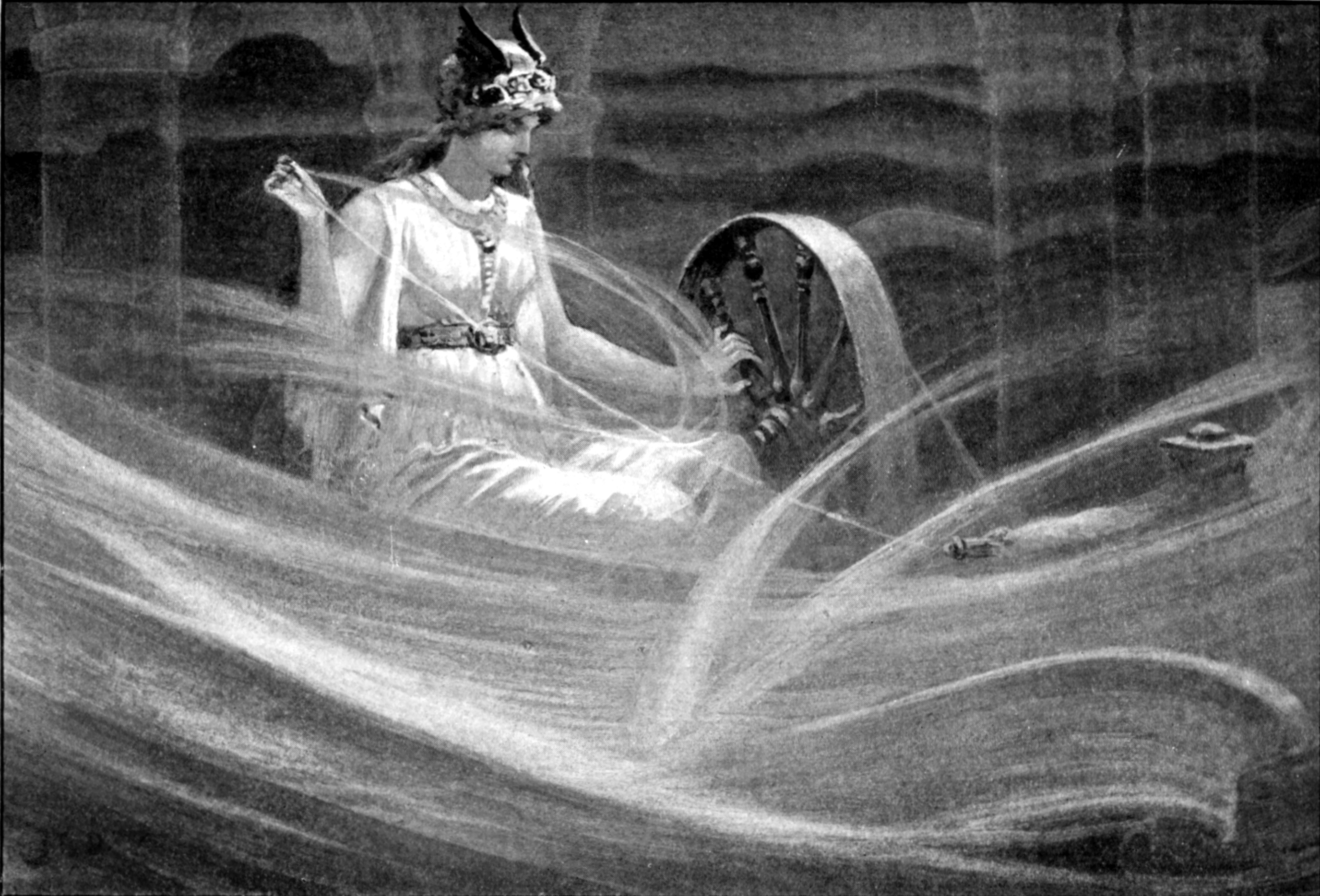 Frigg spinning the clouds, by John Charles Dollman