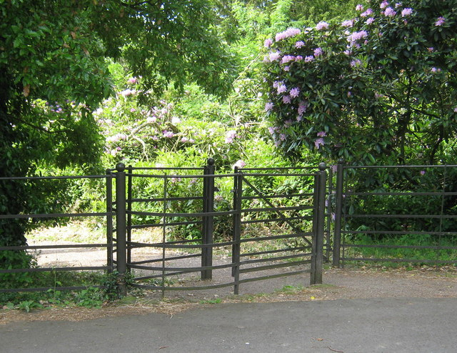 Gate between the car park and the pinetum, Cuerdon Valley Park - geograph.org.uk - 1385019