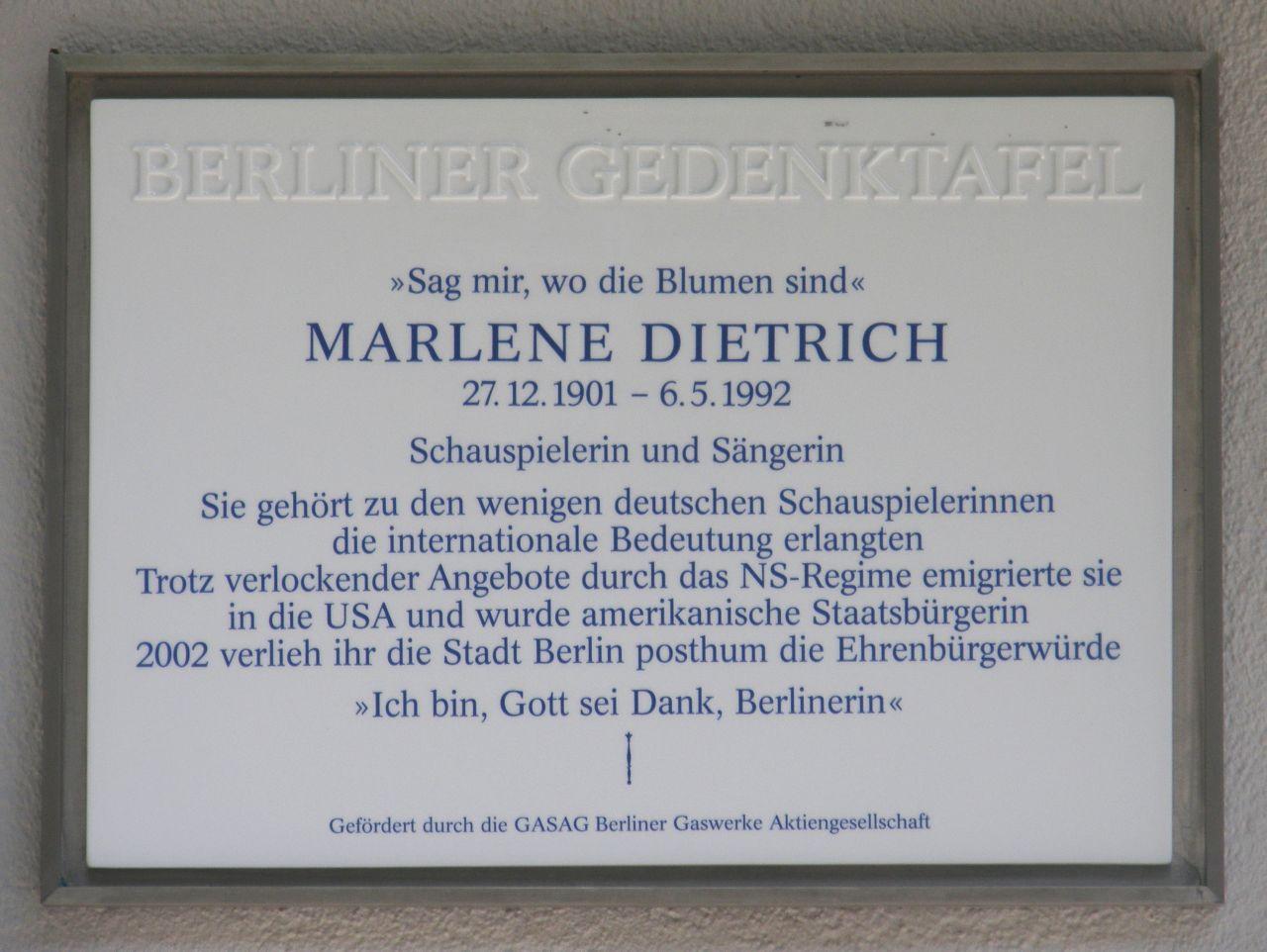 Datei Gedenktafel Marlene Dietrich –