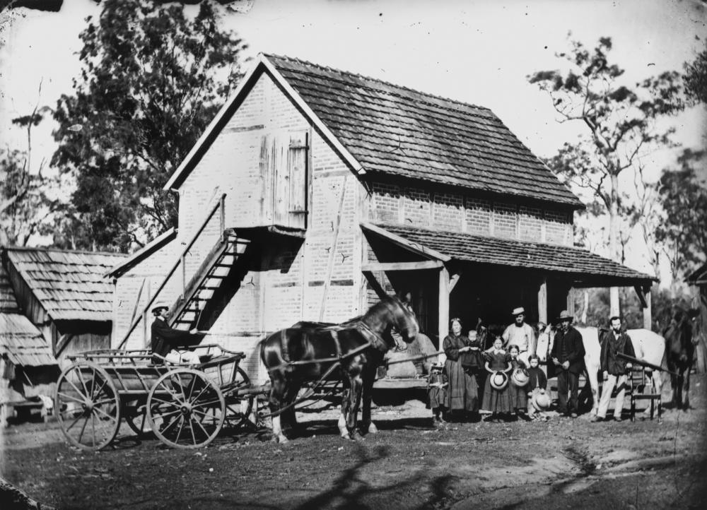 File German Family Outside A Farm Building In The Bethania