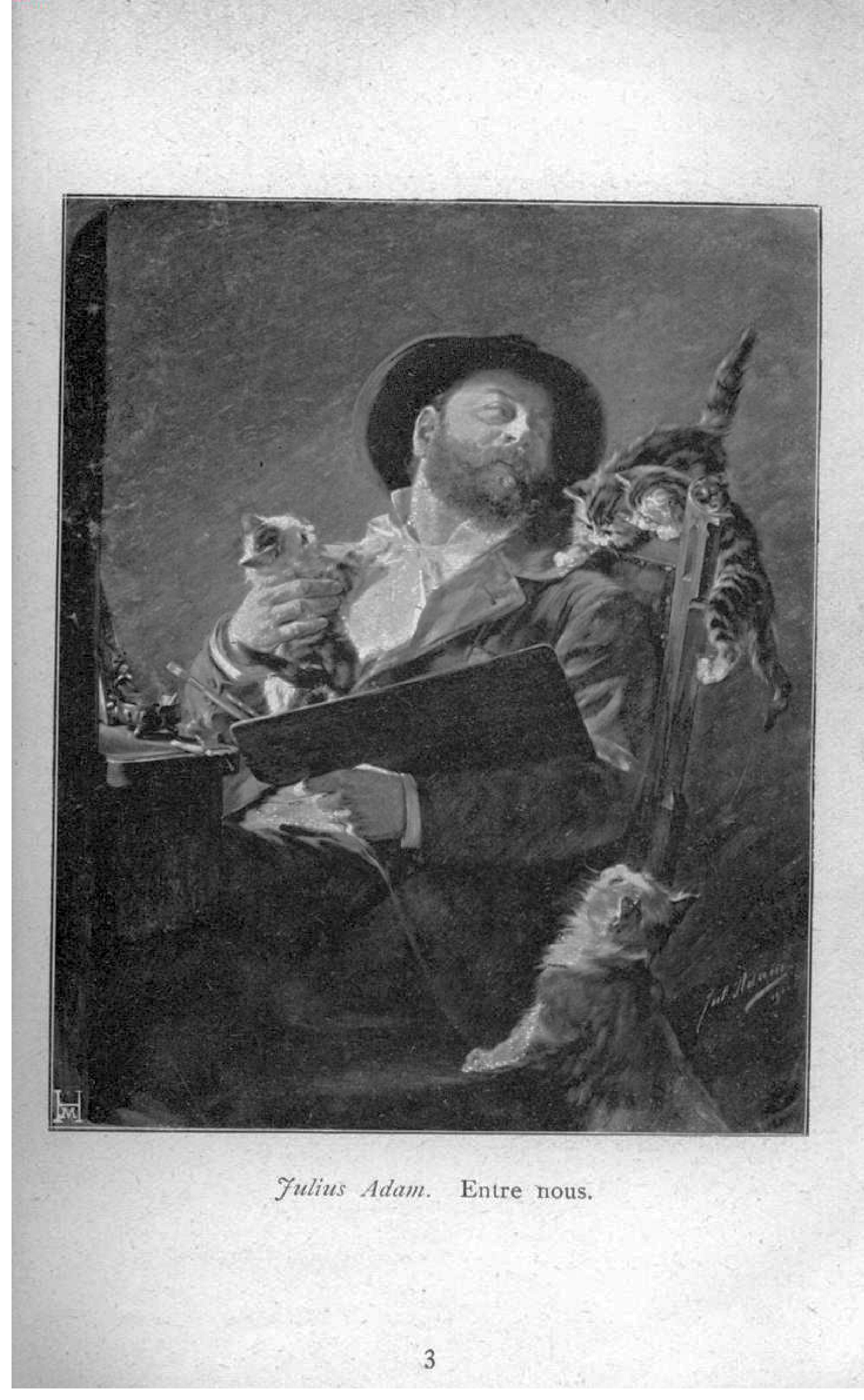 """""""Entre Nous"""" (self-portrait with kittens) by Julius Adam (lithograph of 1911 oil on canvas)"""