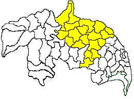 Mandals in Guntur revenue division (in yellow) of Guntur district