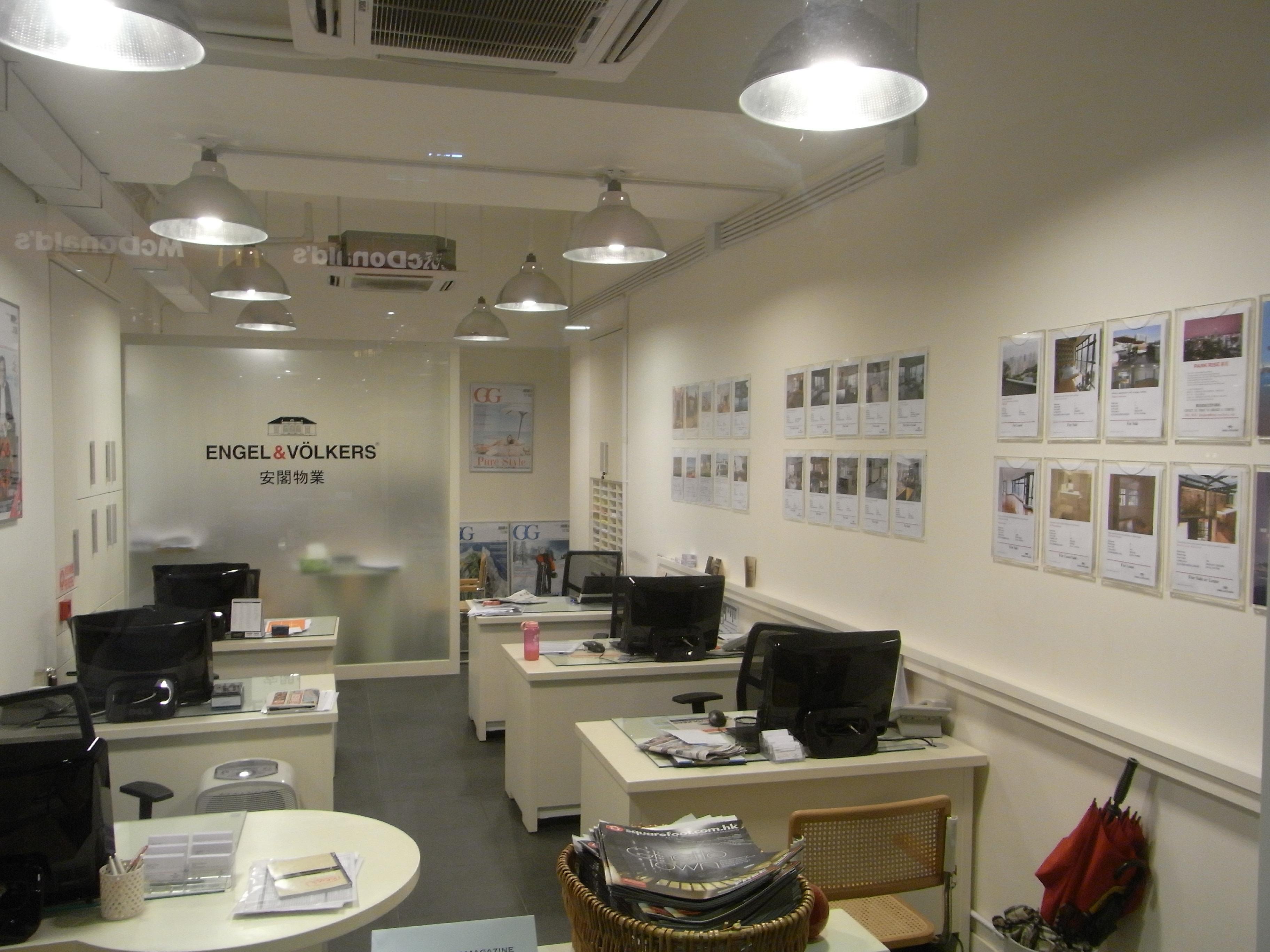 file hk mid levels 95 caine road night engel volkers real estate agent shop interior. Black Bedroom Furniture Sets. Home Design Ideas