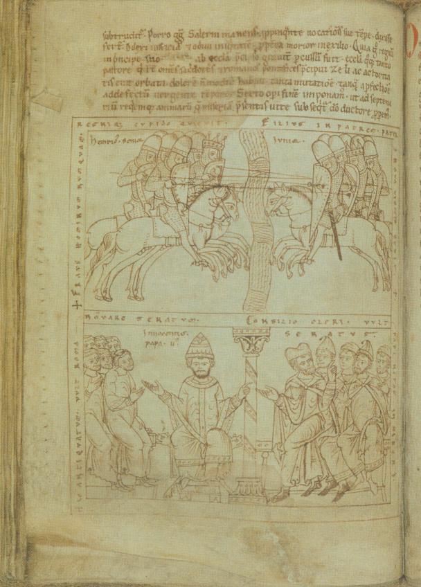 در سال 1105 ارتش هنری چهارم و هنری پنجم در برابر یکدیگر قرار گرفتند (تصویر بالا) . پاپ اینوسنت دوم توسط روحانیون و سناتورها احاطه شده است. (اتو فون فریزینگ، کرونیکل، یینا، دانشگاه تورینگن)