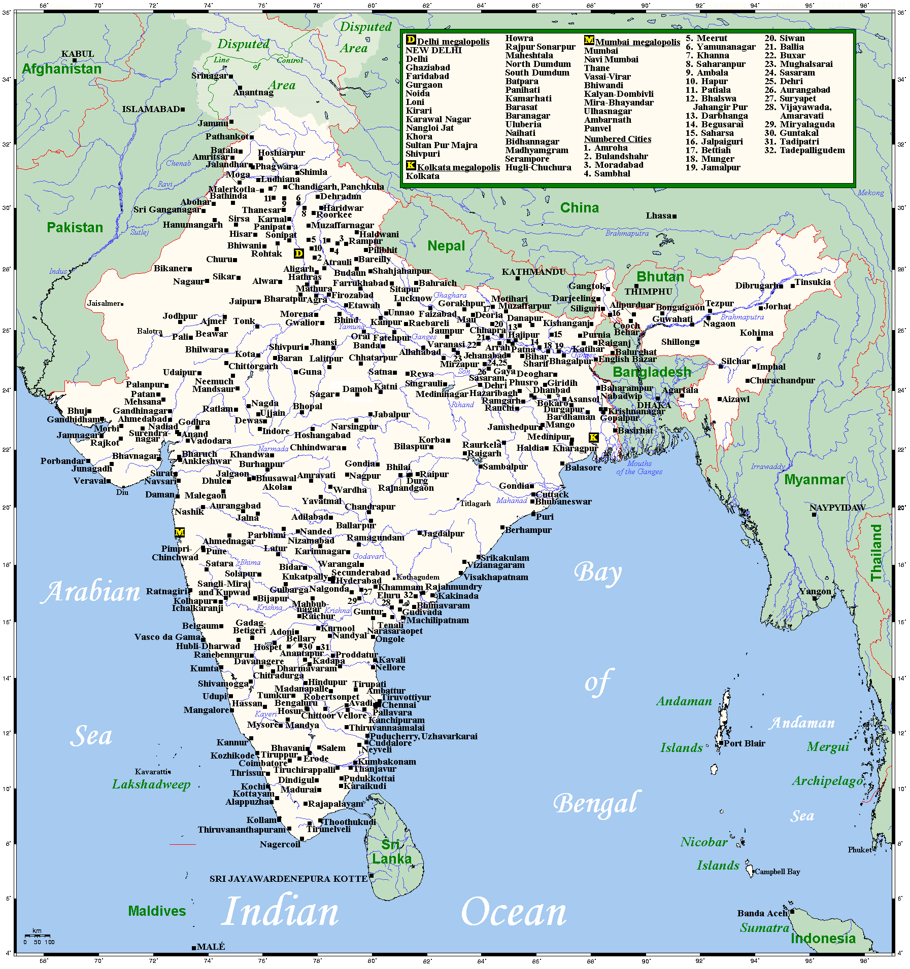 Map of india with cities for Cities in india