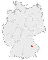Regensburgs beliggenhed i Tyskland.
