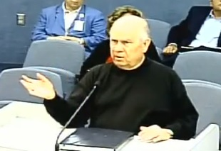Confronting Miami Beach city commissioners in 2009 on the city's ban of alcohol in nightclubs featuring nudity. Leroy Griffith before Miami Beach City Commission.jpg