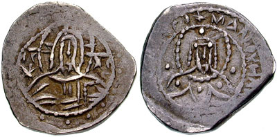 Half stavraton issued by Manuel II Palaeologus in 1391-1423. Manuel II - half stavraton - sb2551.jpg