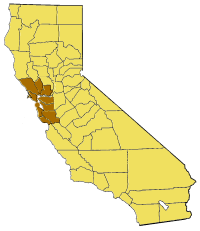 Map of California highlighting SFBayArea