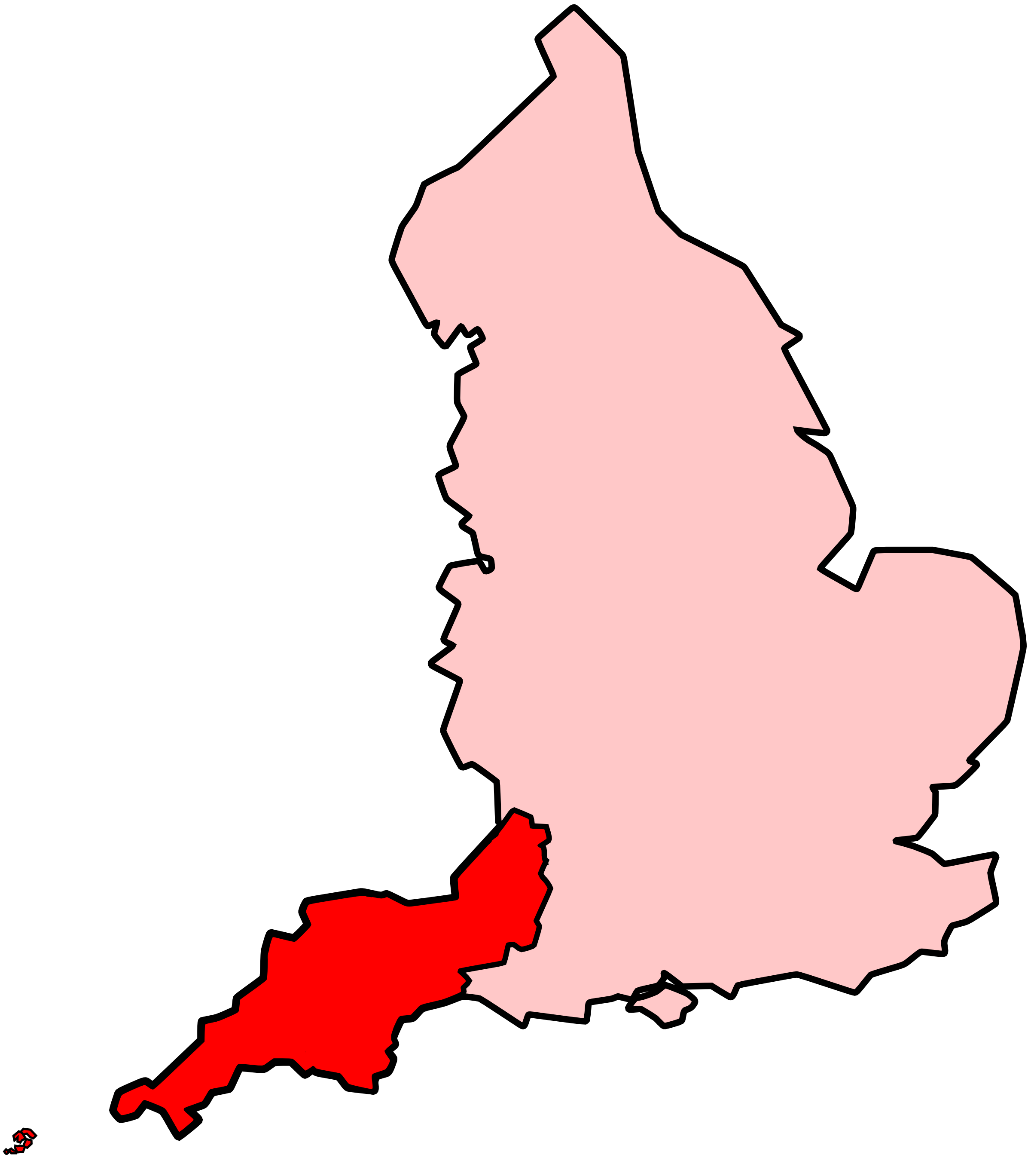 File map of south west england shown within england met office region