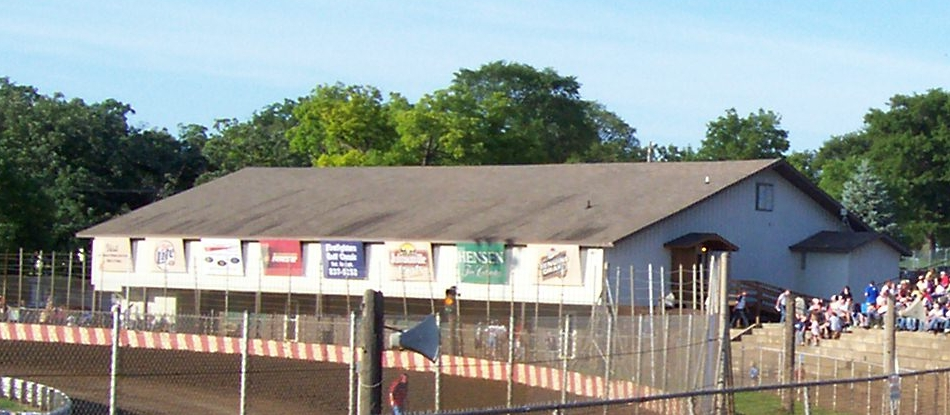 National Midget Auto Racing Hall of Fame building in turn 1