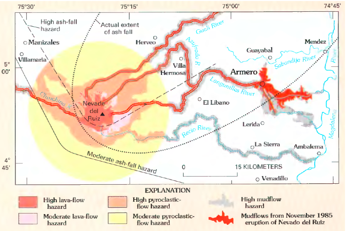 Hazard map for Nevado del Ruiz, with 1985 lahars shown in red Nevado del Ruiz hazard map, from Wright and Pierson.png