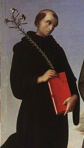 Perugino Madonna and Child with Four Saints (Tezi Altarpiece) 03, St Nicholas of Tolentino
