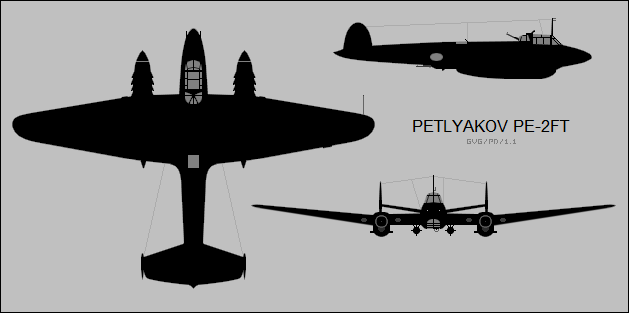Petlyakov_Pe-2FT_three-view_silhouette.p