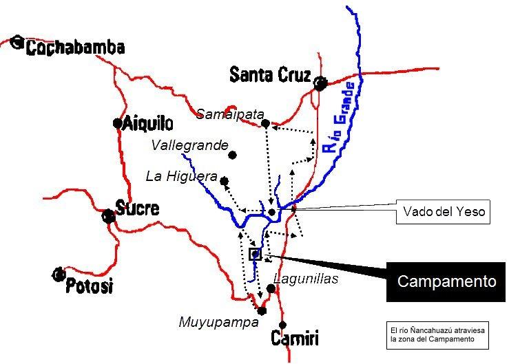 La ruta del Che. La línea punteada señala el camino del grupo guerrillero dirigido por Guevara hasta el lugar en que fue fusilado. Hoy es un circuito turístico de memoria.
