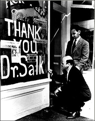 Shopkeeper shows his appreciation for Dr. Salk and his vaccine