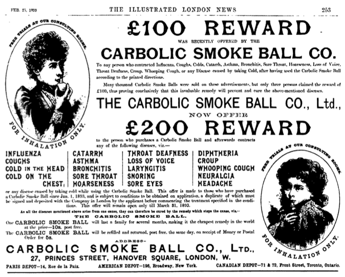 carlill carbolic smoke ball case Read carlill v carbolic smoke ball company free essay and over 88,000 other research documents carlill v carbolic smoke ball company relying purely on carlill v.