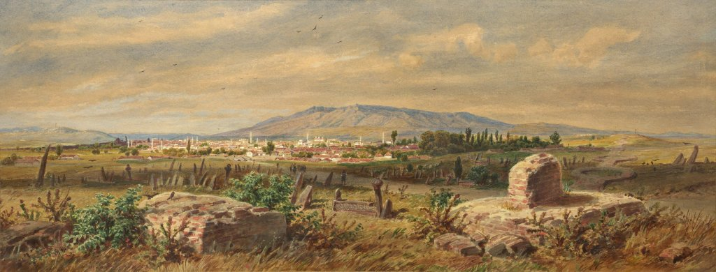 The skyline of Sofia with Vitosha Mountain in the background, in the 1860s