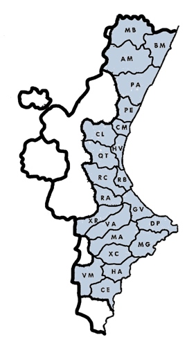 Fitxategi:Subdivisions of the Land of Valencia purposed by Manuel Sanchis-Guarner in 1966.png