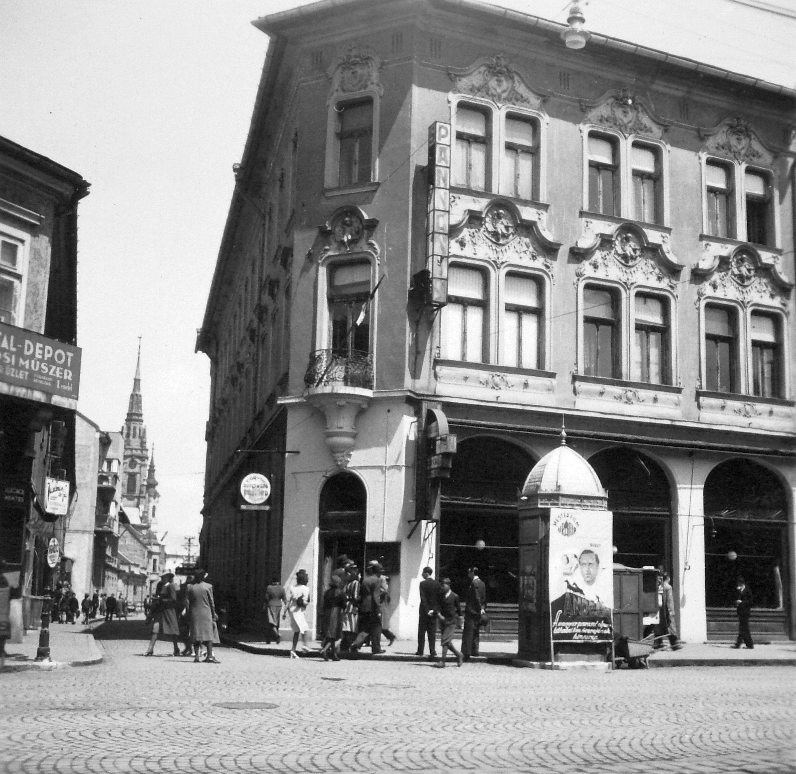 88244f5736 File:Széchenyi utca - Kossuth Lajos utca sarka, Pannónia szálló. Fortepan  7106.jpg