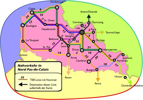 Поезда по региону Нор-па-де-Кале: схема маршрутов поездов по региону Нор-па-де-Кале