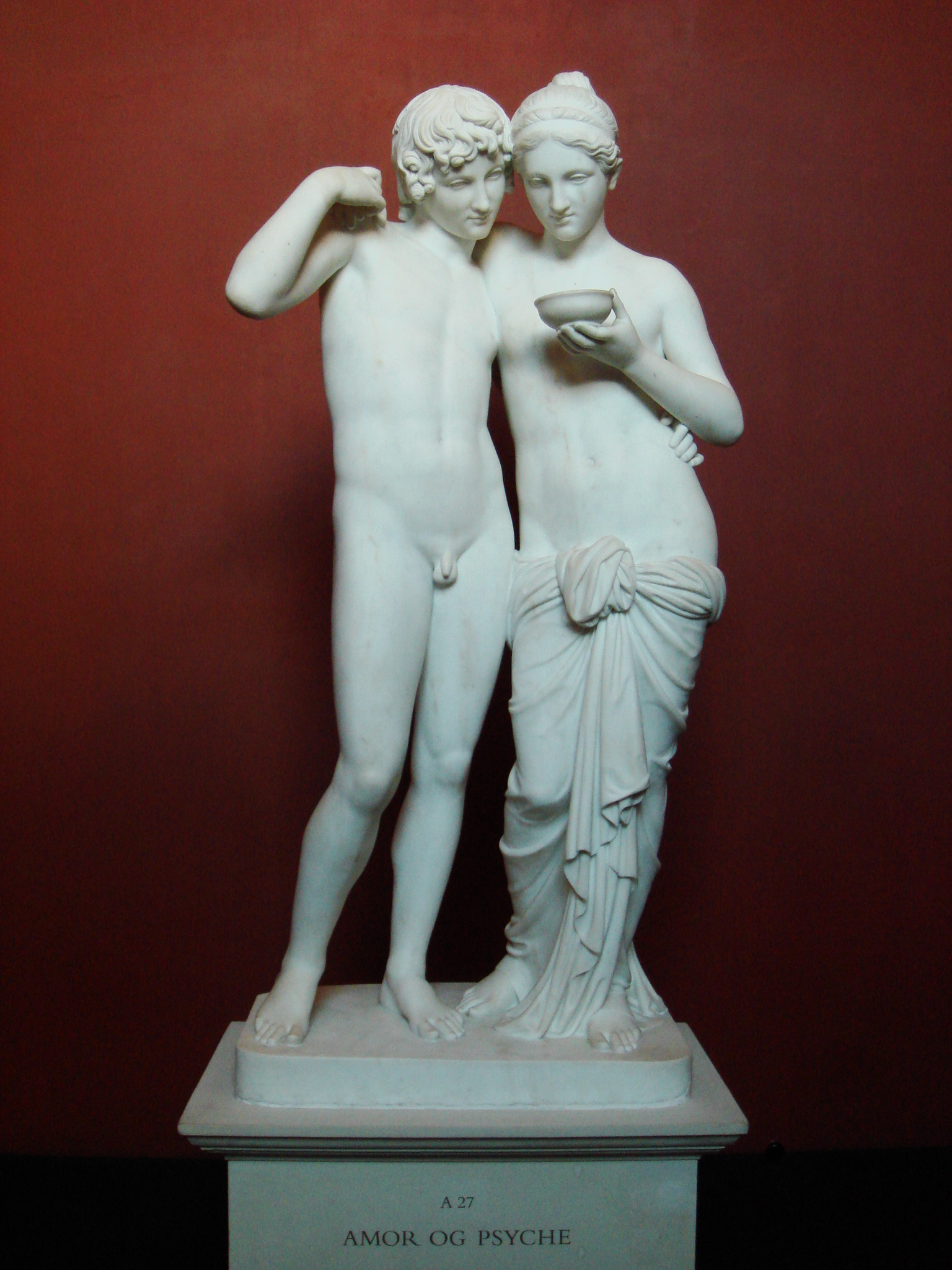 """amor and psyche """"amor and psyche"""" or """"cupid and psyche"""", a28, plaster version of the statue in marble (a27), thorvaldsen´s original model from 1807 thorvaldsen museum (copenhagen, denmark) made with memento beta (now remake) from autodesk after many inhuman ordeals, psyche has at last found her cupid again in her hand she holds a chalice with the elixir of immortality that will render her divine."""
